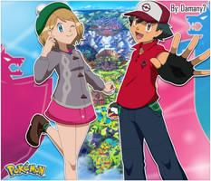 Ash y Serena atuendo Galar
