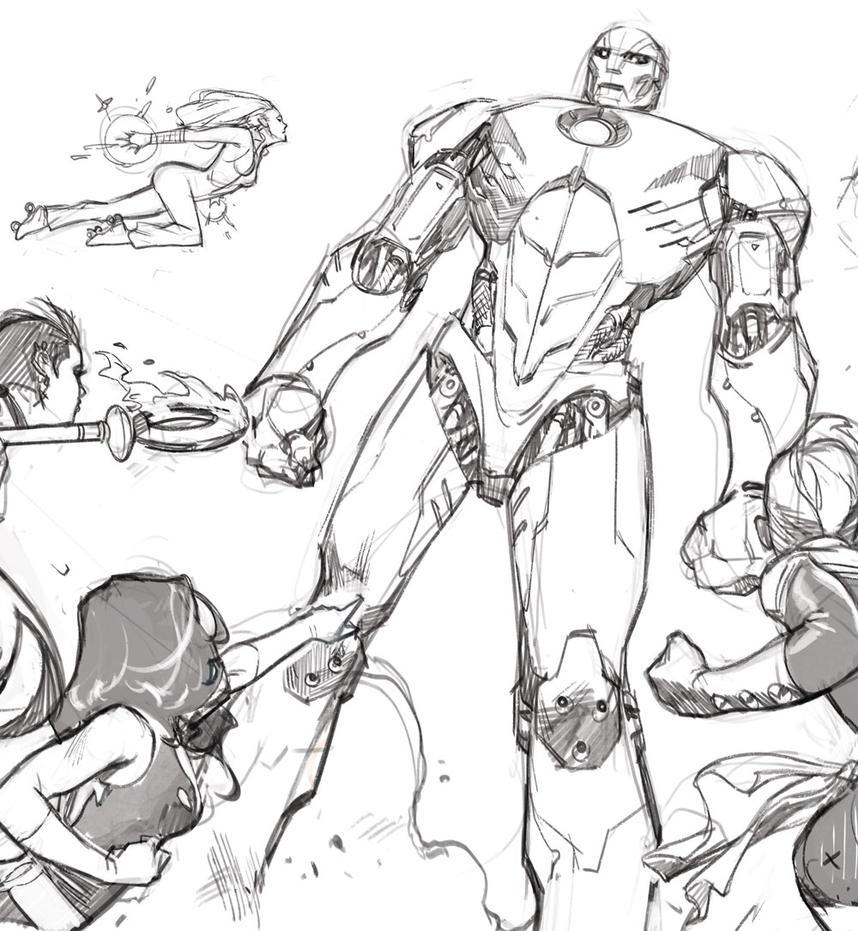 A-Force #2 Pencils by ZurdoM