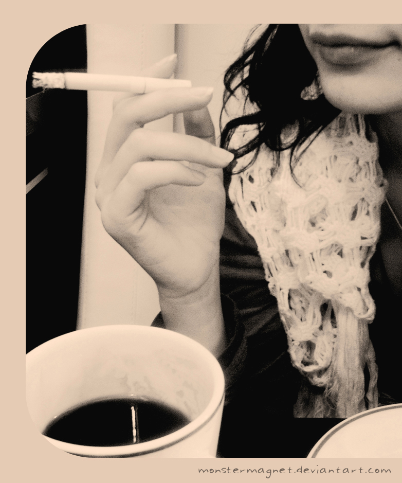 coffee, lips and cigarette by monstermagnet