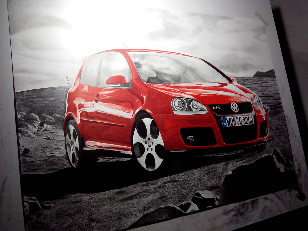 Volkswagen Golf GTI - Large Color Drawing by SubliminAlex
