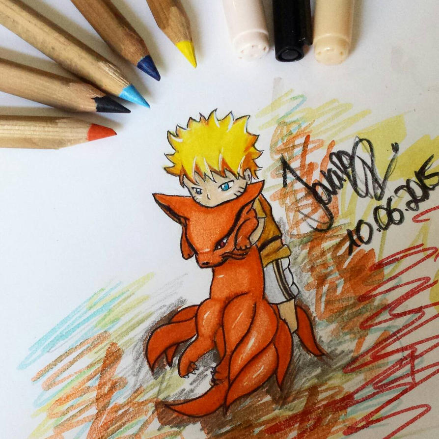 Chibi Naruto and the kyuubi sketch  by TrunksJovi