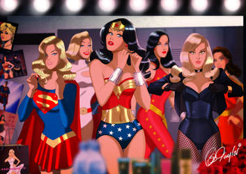 DC Ladies room- with added heroes!