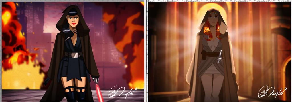 Female Sith and Jedi Apprentice by DESPOP