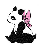 disgruntled panda 'color' by poujea
