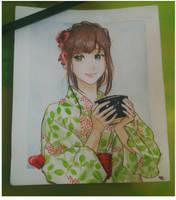 Girl in Yukata  by Janhavi4