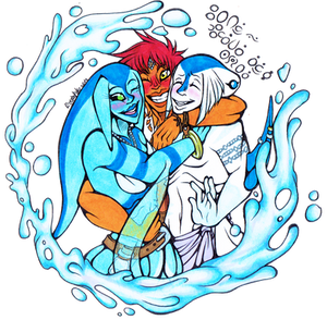 ((Badge Commission)) Fish hugs are the best hugs! by Franken-Fish