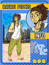 ((LoZ School AU)) Rau's character card by Franken-Fish
