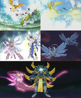 Patamon And Gatomon And Their Digivolutions by MitchThe1Soul