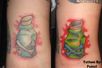 poison bottle tattoo by redsamuraidragon