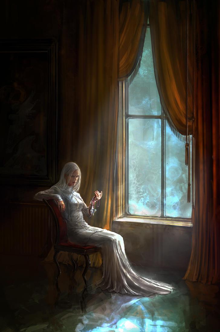 White Praying Mantis by anndr