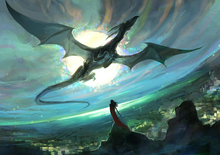 Dragon in the sky by anndr