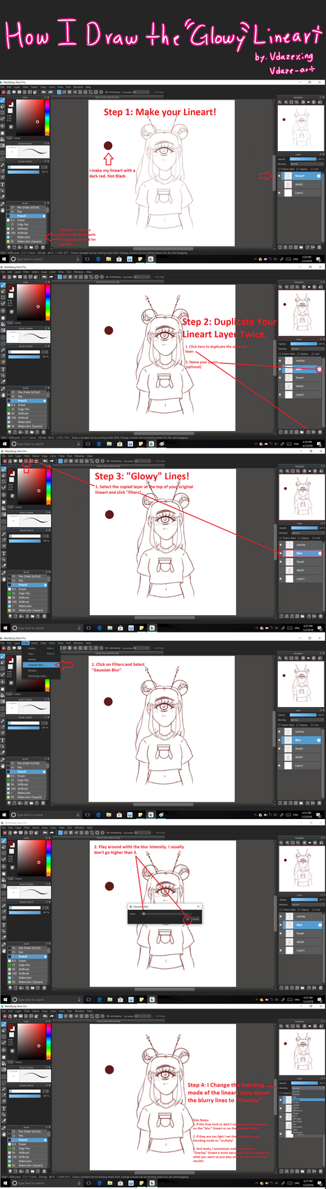 How I do my line work (Medibang Paint) by vdaze-art