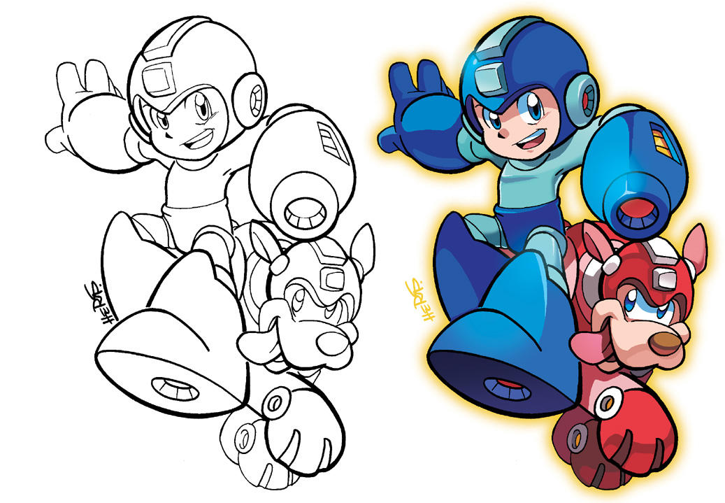 inks to colors mega man and rush by herms85 on deviantart inks to colors mega man and rush by