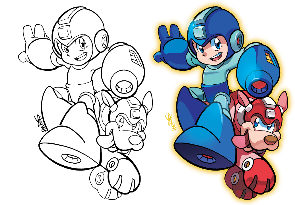 Inks to Colors - Mega Man and Rush by herms85 on DeviantArt
