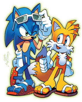 Sonic 'n' Tails (Coloring Commission)