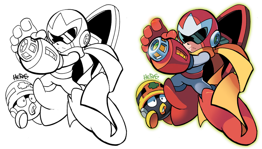 inks to colors proto man by herms85 - Mega Man Printable Coloring Pages