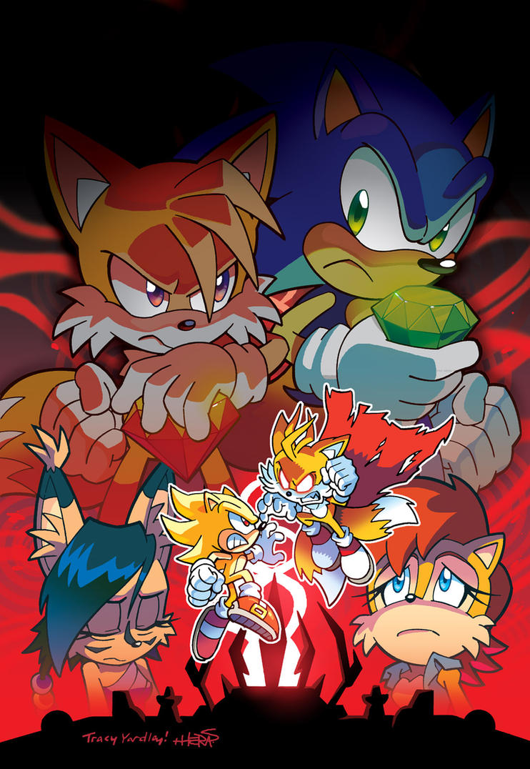 Sonic Vs. Tails (Coloring Commission) by herms85