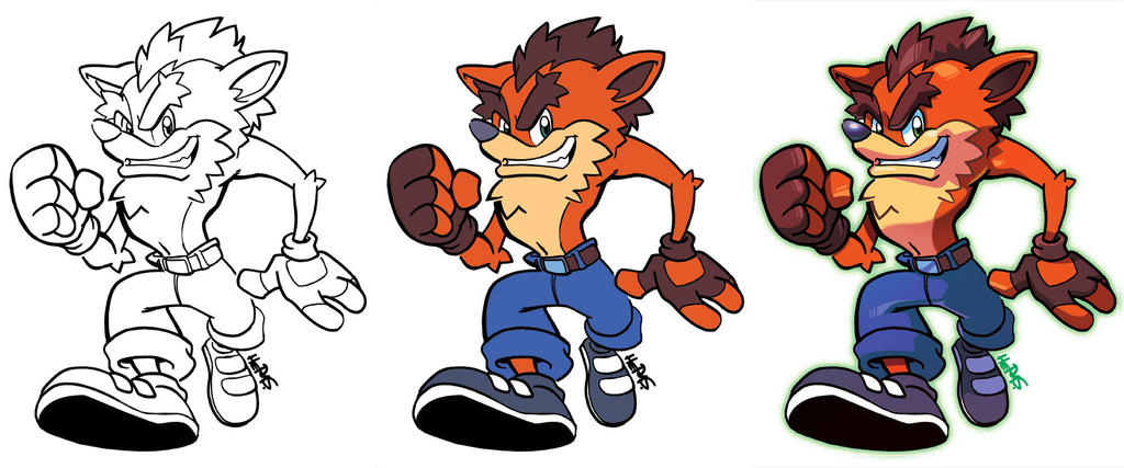 Inks to Colors - Crash Bandicoot by herms85