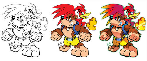 Inks to Colors - Banjo and Kazooie by herms85