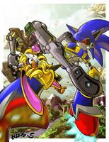 Bunnie Rabbot vs Mecha Sonic by herms85