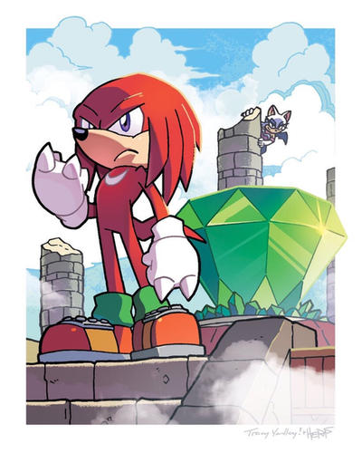 Knuckles the Echidna (Coloring Commission) by herms85