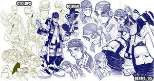 Sketches-Cyclops and Iceman