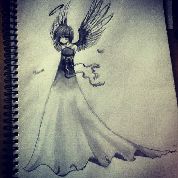 Anime angel pencil sketch by lookaliveholly