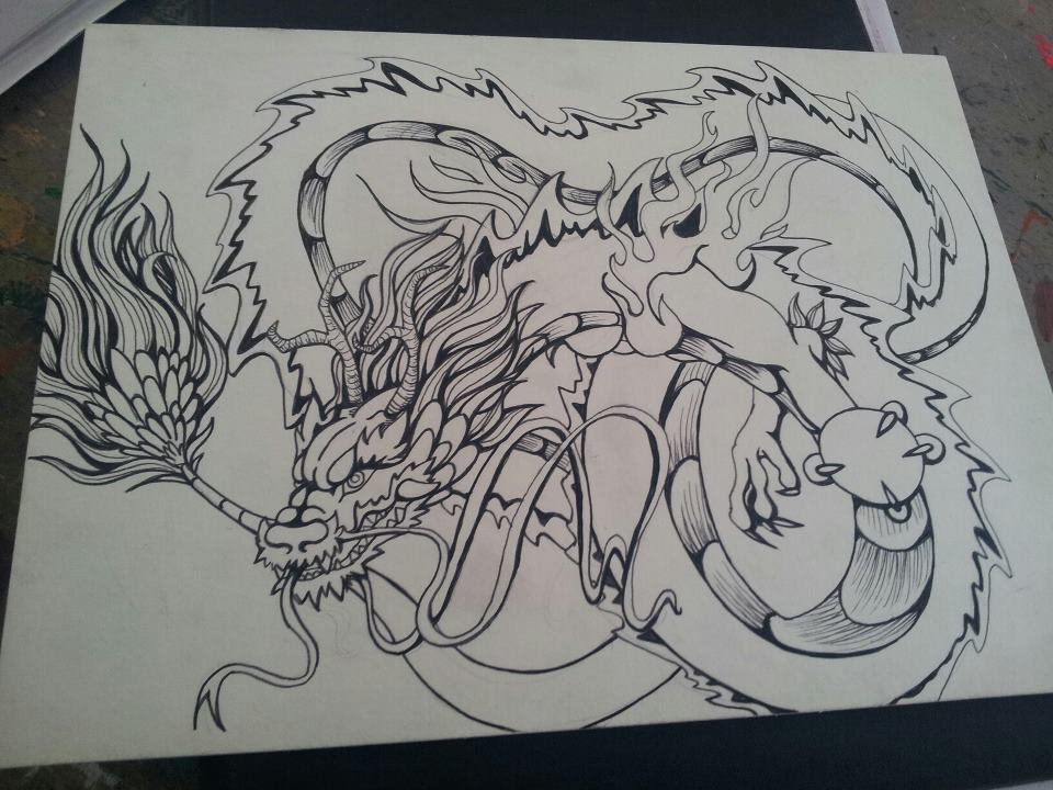 Line Art Dragon : Dragon tattoo lineart by lookaliveholly on deviantart