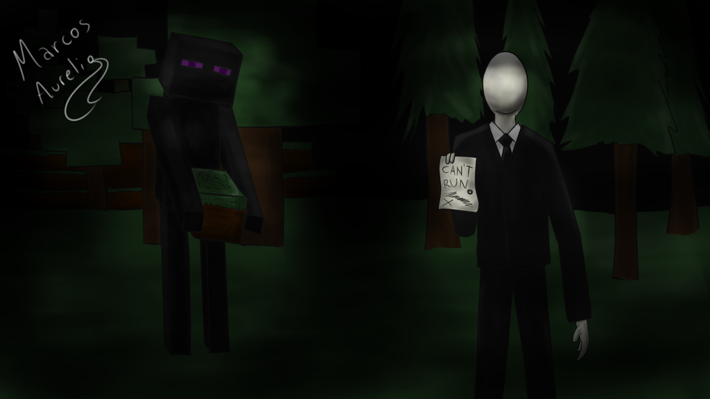 slenderman and enderman by aureliomarcos on deviantart