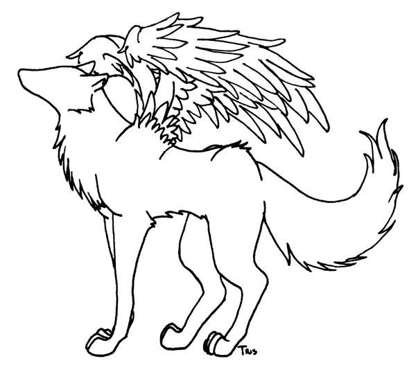 Winged Wolf Lineart by trisomy on DeviantArt
