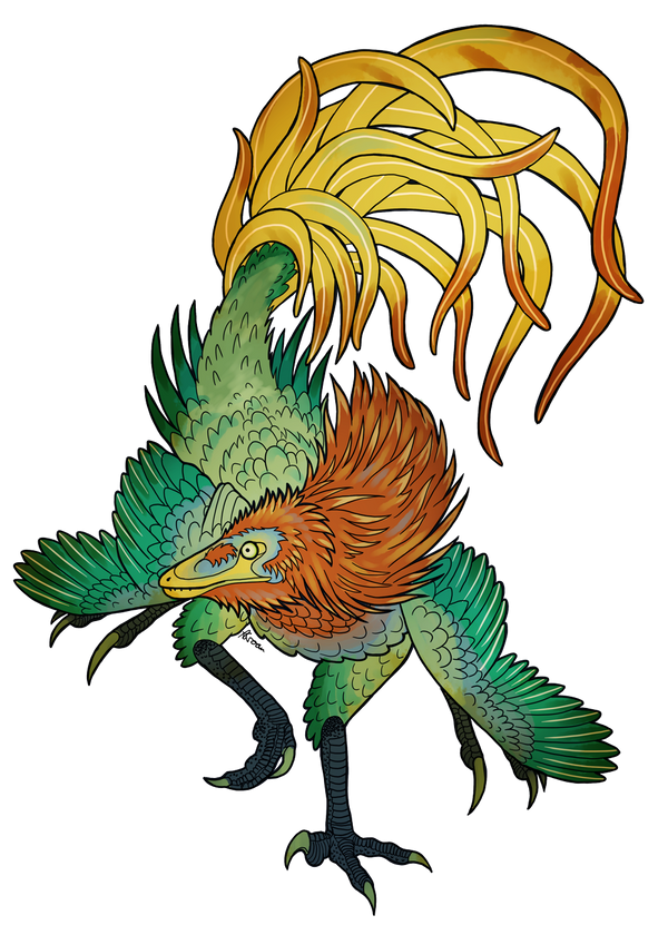 Jinfengopteryx - The Golden Phoenix Wing by PixelMecha