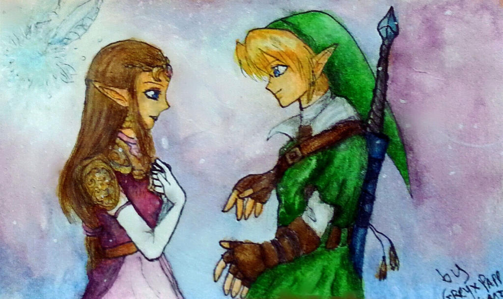 Link and Zelda watercolor by Greyx Papp 97 by GreyxPapp97