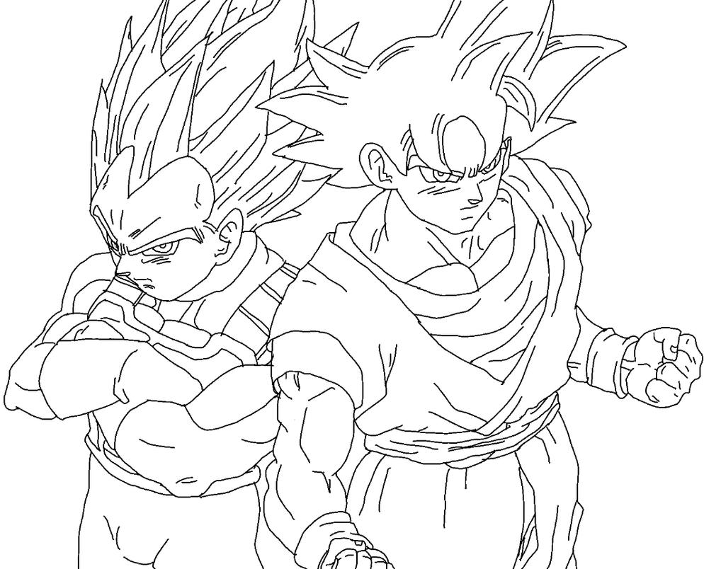Goku Ultra Instinct And Vegeta New Form Drawing By