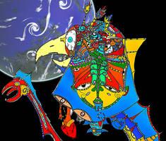 Multicolored Bird by Orianonic