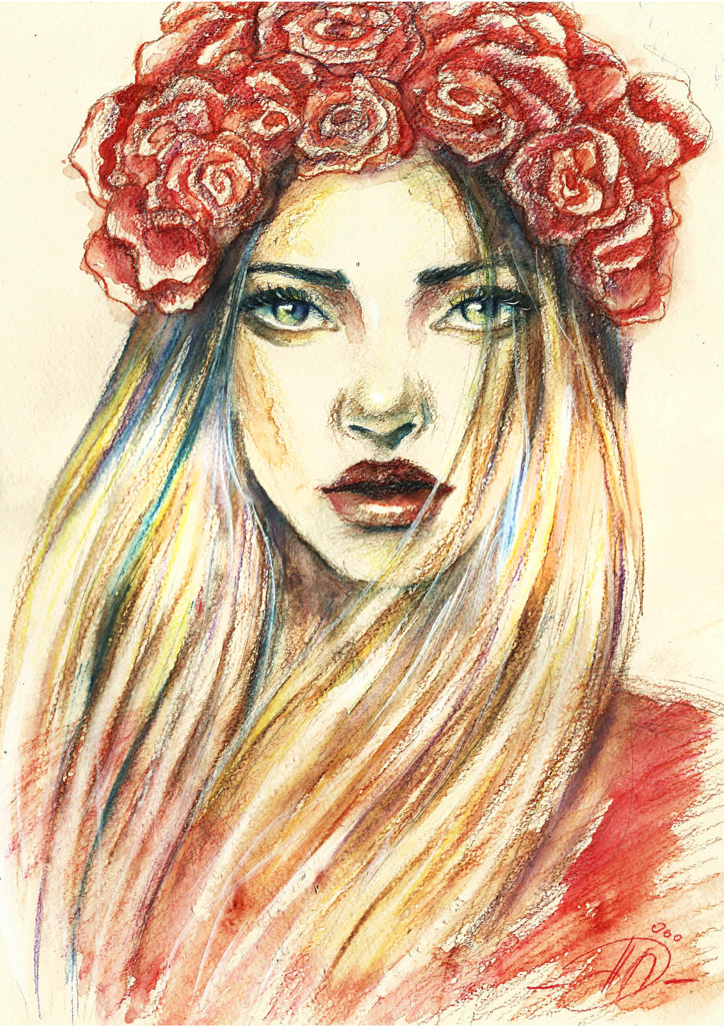 rose watercolor pencils by poplavskaya on deviantart