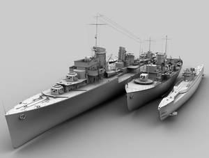 Destroyer, corvete and U-Boot