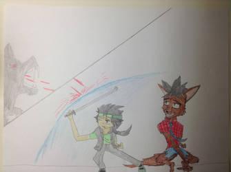 Kota and Walt the werewolf vs. the bat creature by Lucasfan375