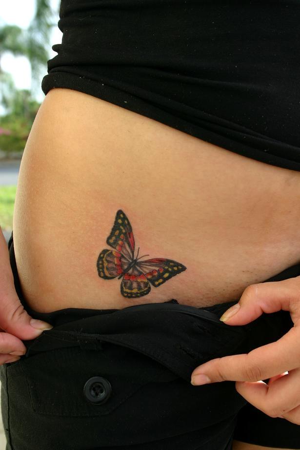 Women Lower Front Butterfly Tattoo