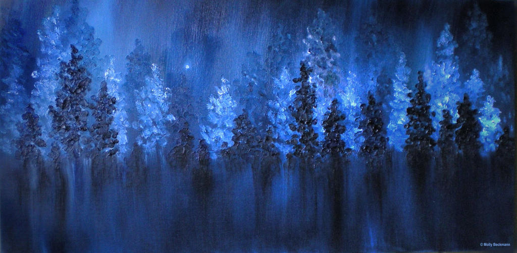 Winter Forest Landscape Blue Oil Painting