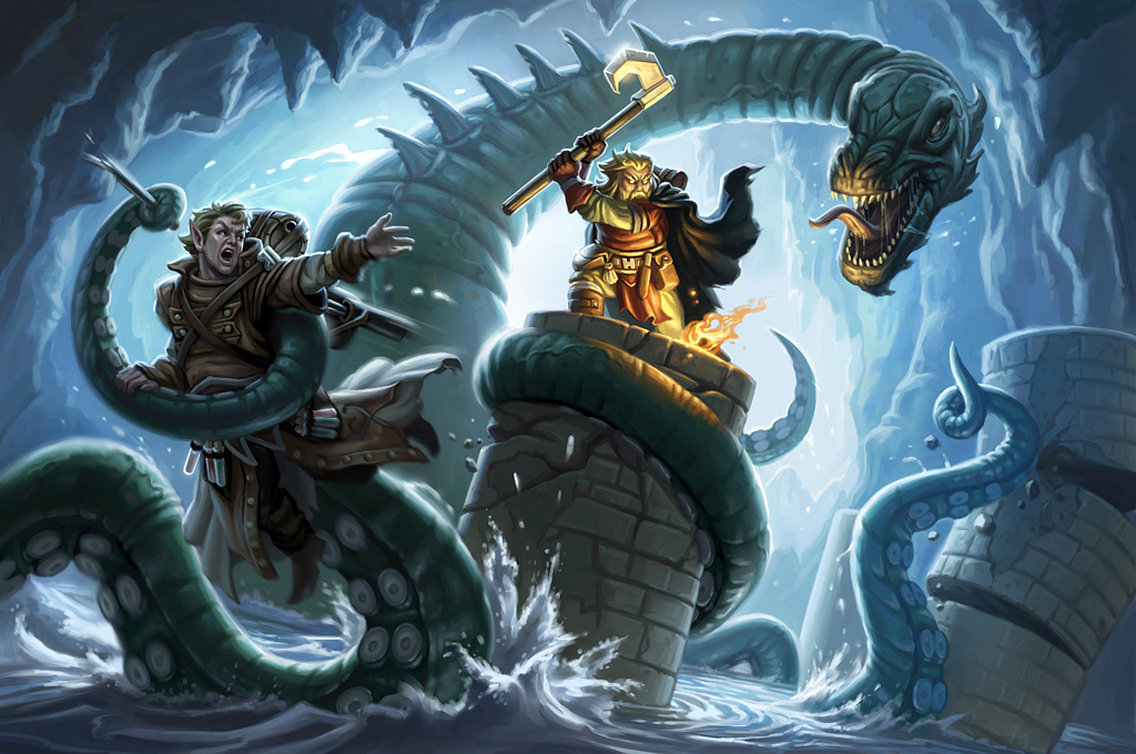 Serpent fight by Mike-Sass