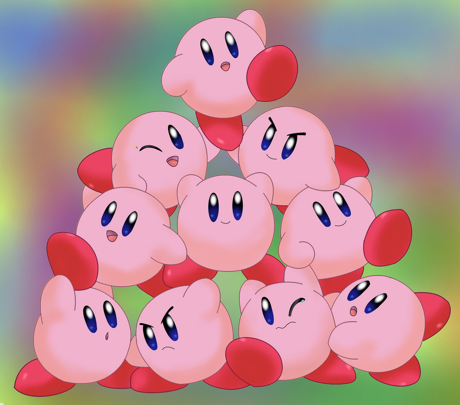 Cute Kirby Pile Up By Aven Mochi