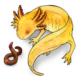 Golden axolotl and a worm by Loony-Madness