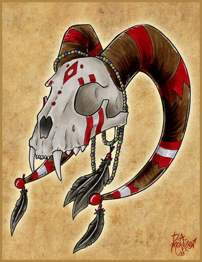 Horned dog skull by Morrison3000