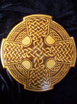 Pyrography round celtic cross