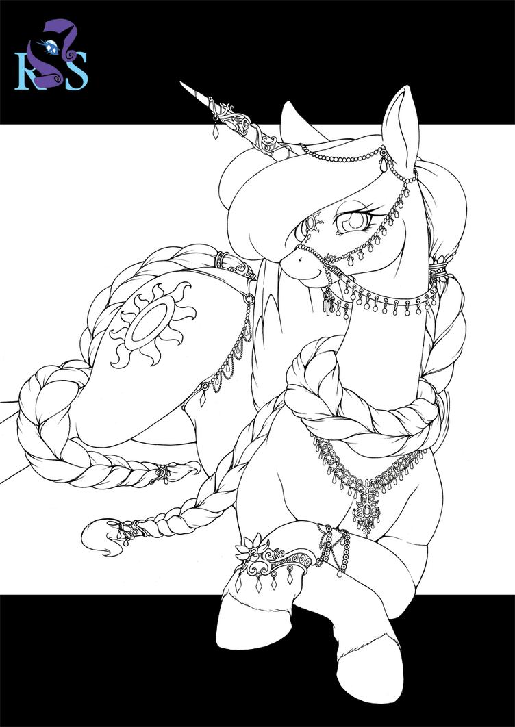 Rarity's Secret - Celestia V2 - Inks by Longinius-II