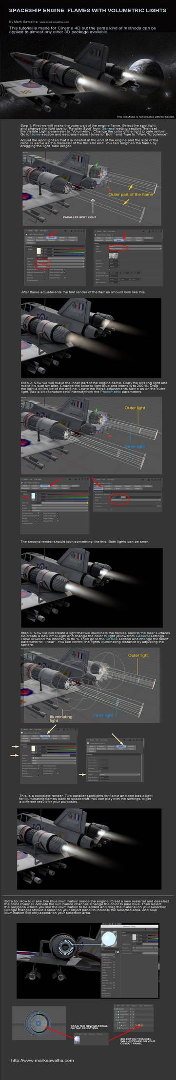 Spaceship Engine Flames With Volumetric Lights