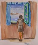 Noia mirant per la finestre