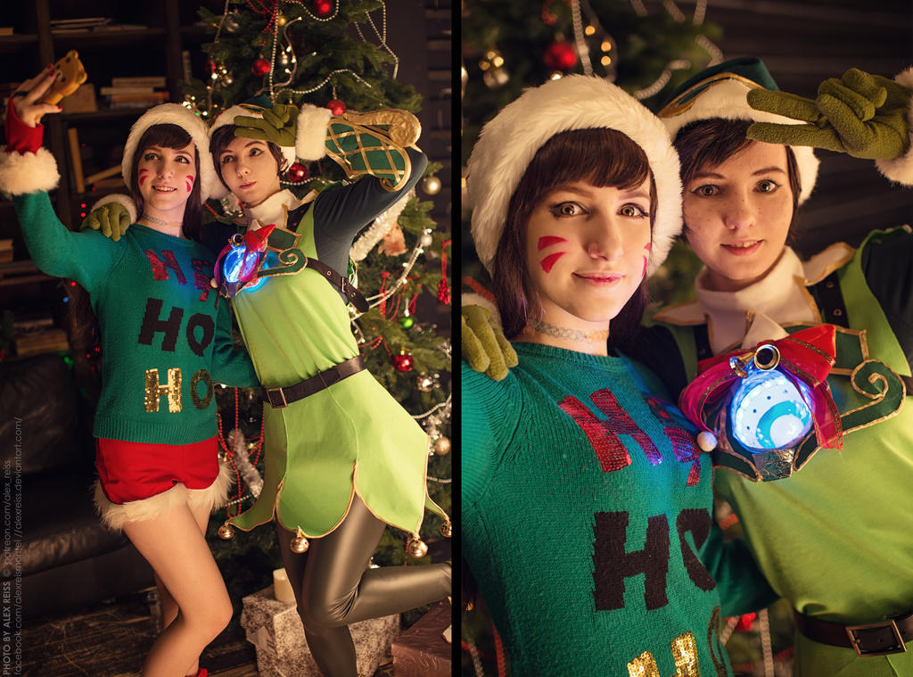 Christmas Overwatch selfie - Tracer and DVa by Klodia13 on DeviantArt