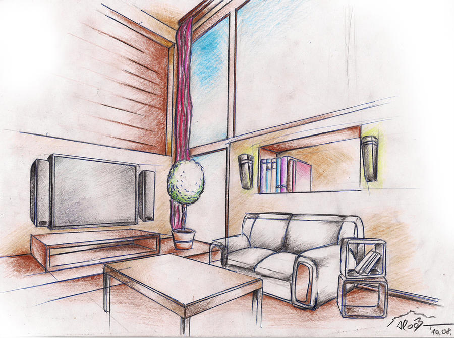 Interior drawing 1 by sloeb on deviantart for Interior designs drawings