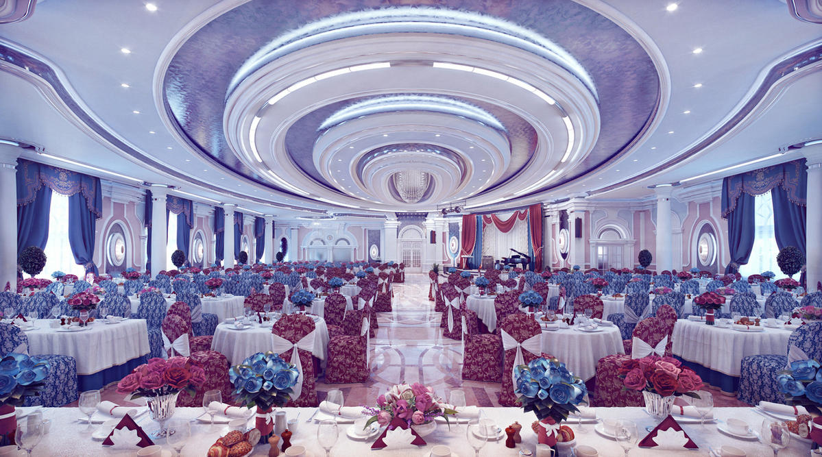 Interior of banquet hall by ideaday on deviantart for Drawing hall interior decoration